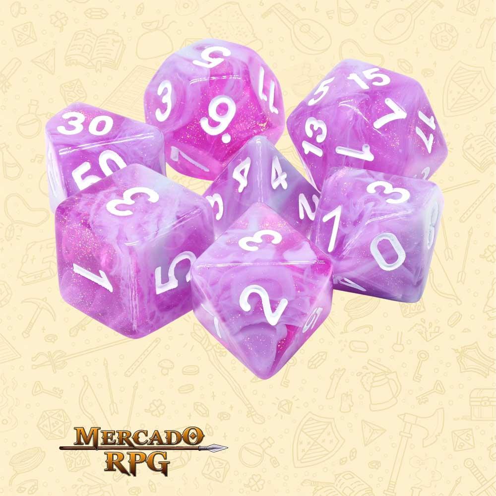 Dados de RPG - Conjunto com 7 Dados Aurora - Stars Shine Aurora Dice - Mercado RPG