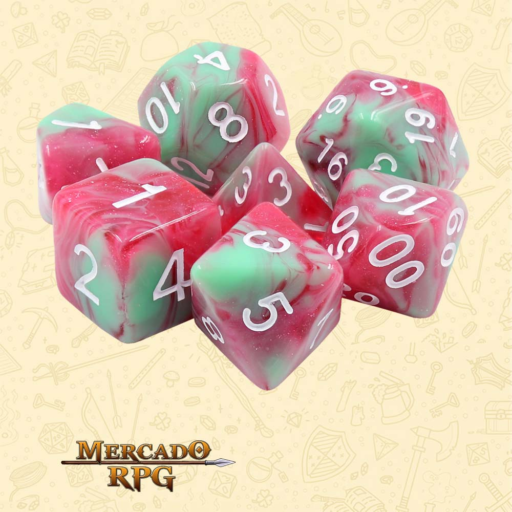 Dados de RPG - Conjunto com 7 Dados Aurora - Strawberry Creme Aurora Dice - Mercado RPG