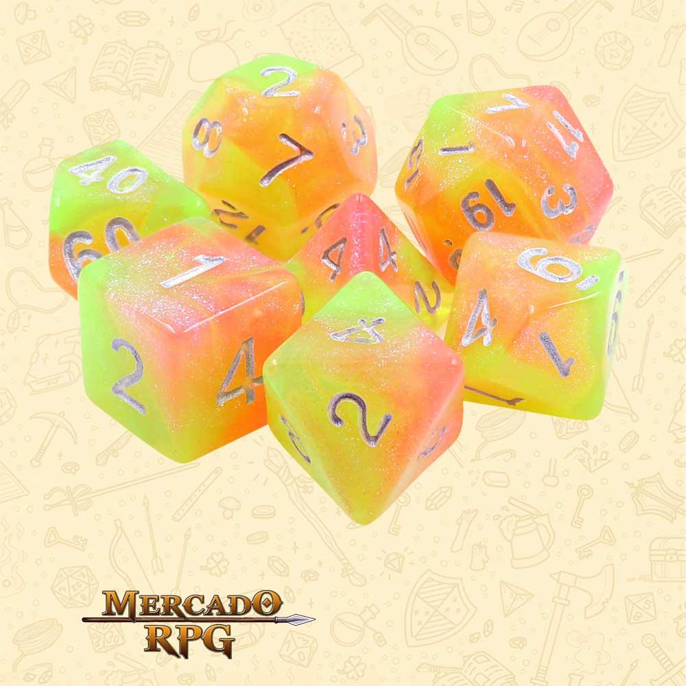 Dados de RPG - Conjunto com 7 Dados Aurora - Summer's Joy Aurora Dice - Mercado RPG