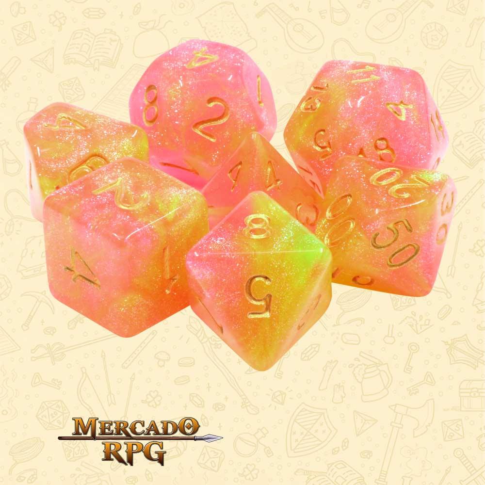 Dados de RPG - Conjunto com 7 Dados Aurora - Swing Time Aurora Dice - Mercado RPG
