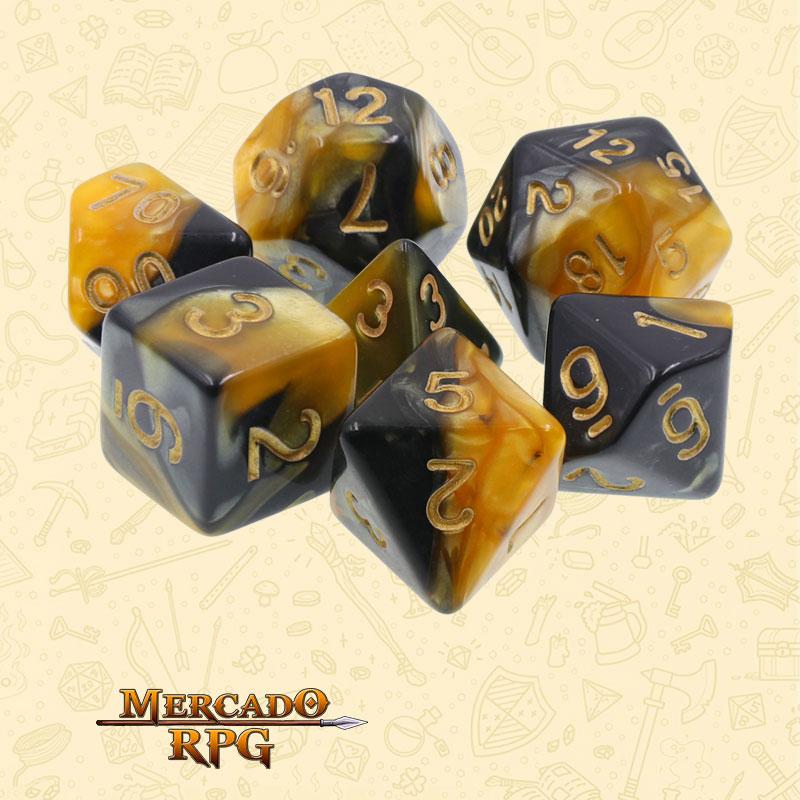 Dados de RPG - Conjunto com 7 Dados Blend - Black & Yellow Color Dice - Mercado RPG