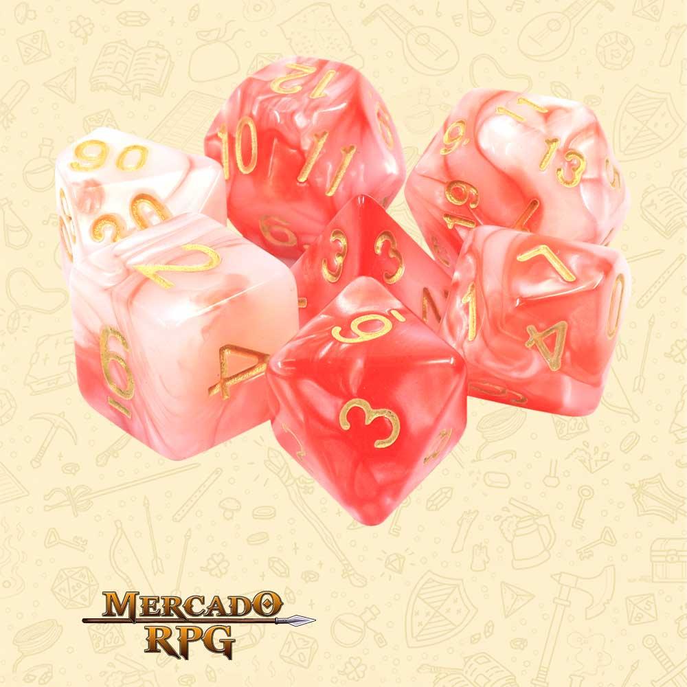 Dados de RPG - Conjunto com 7 Dados Blend - Bloody Jade Blend Color Dice - Mercado RPG