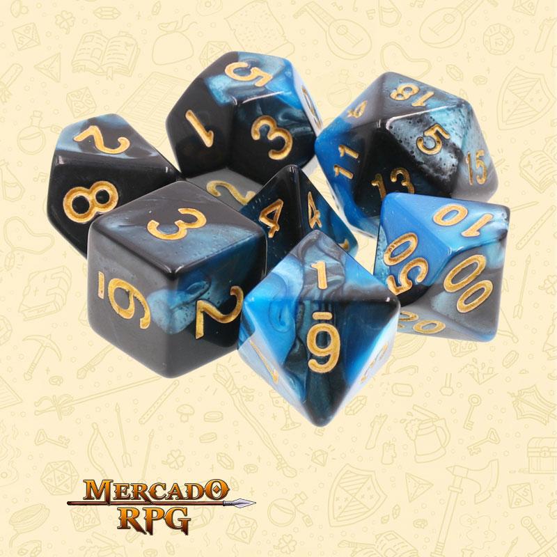 Dados de RPG - Conjunto com 7 Dados Blend - Blue & Black Blend Color Dice - Mercado RPG