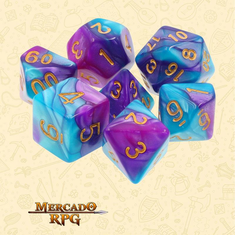 Dados de RPG - Conjunto com 7 Dados Blend - Blue & Bright Purple Blend Color Dice - Mercado RPG