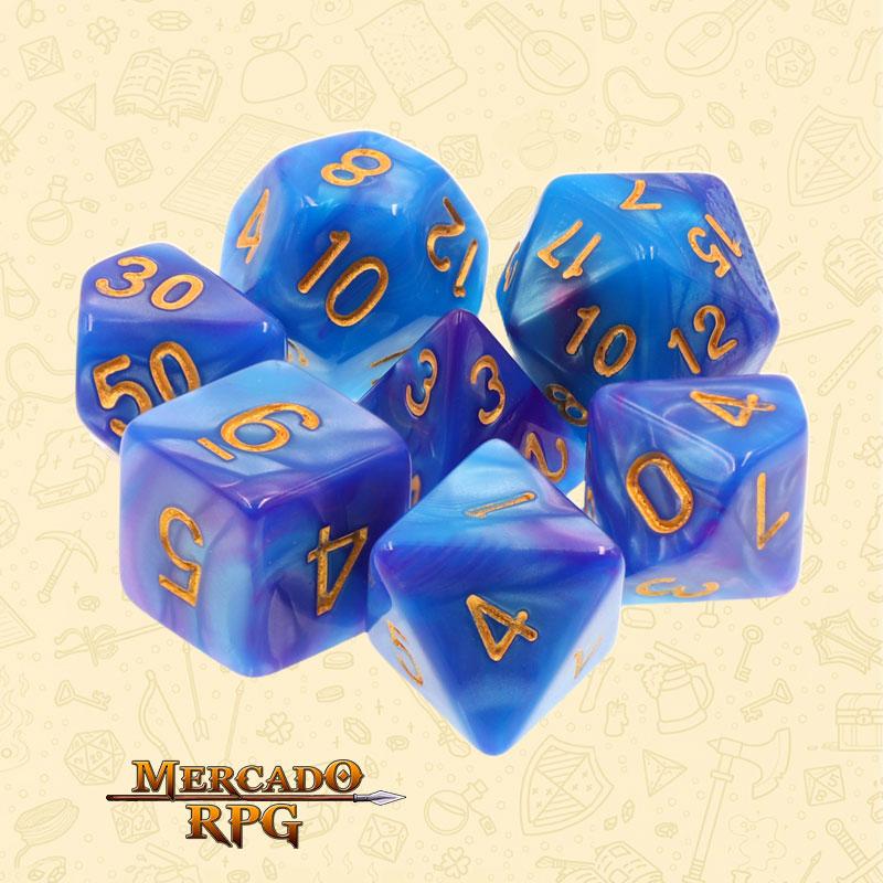 Dados de RPG - Conjunto com 7 Dados Blend - Blue & Deep Purple Blend Color Dice - Mercado RPG