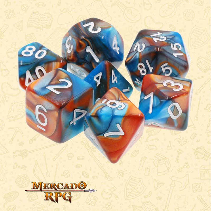 Dados de RPG - Conjunto com 7 Dados Blend - Blue & Golden Blend Color Dice - Mercado RPG