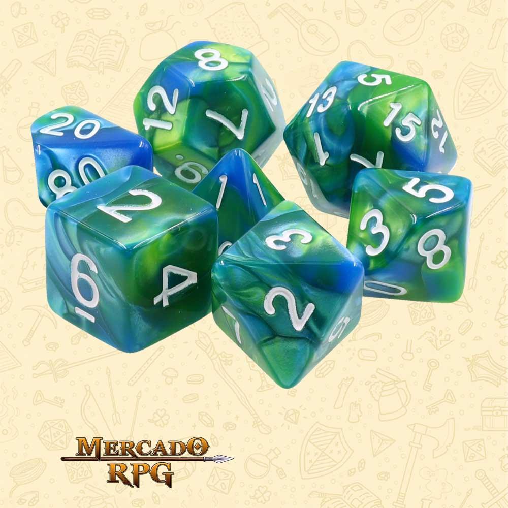 Dados de RPG - Conjunto com 7 Dados Blend - Blue & Green Blend Color Dice - Mercado RPG