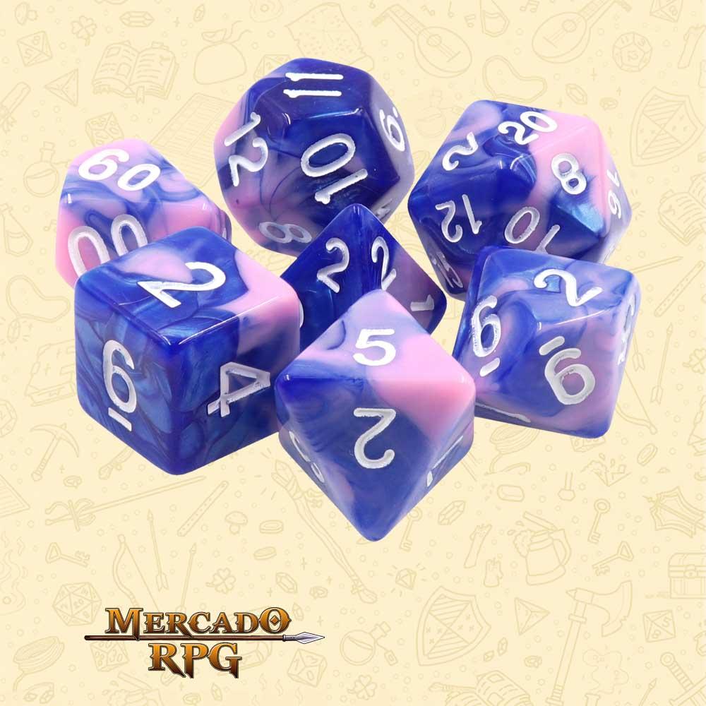 Dados de RPG - Conjunto com 7 Dados Blend - Blue & Pink Blend Color Dice - Mercado RPG