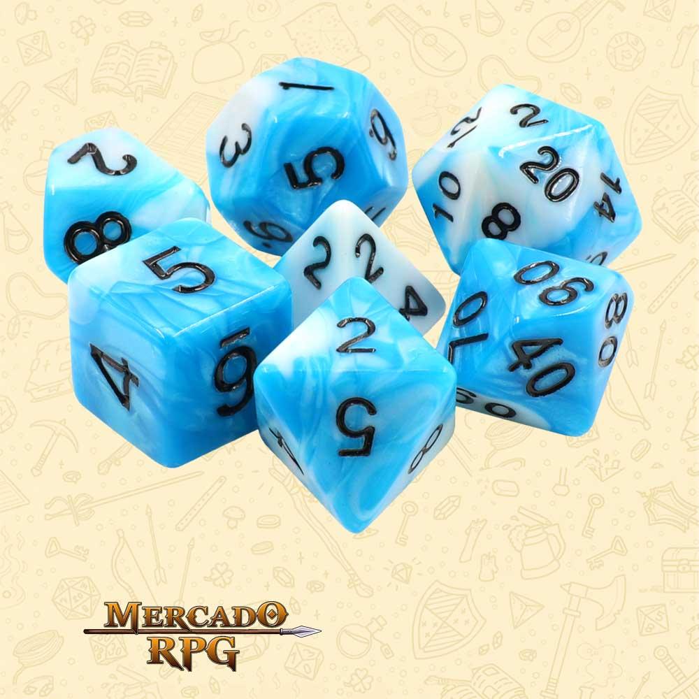 Dados de RPG - Conjunto com 7 Dados Blend - Blue & White Blend Color Dice - Mercado RPG