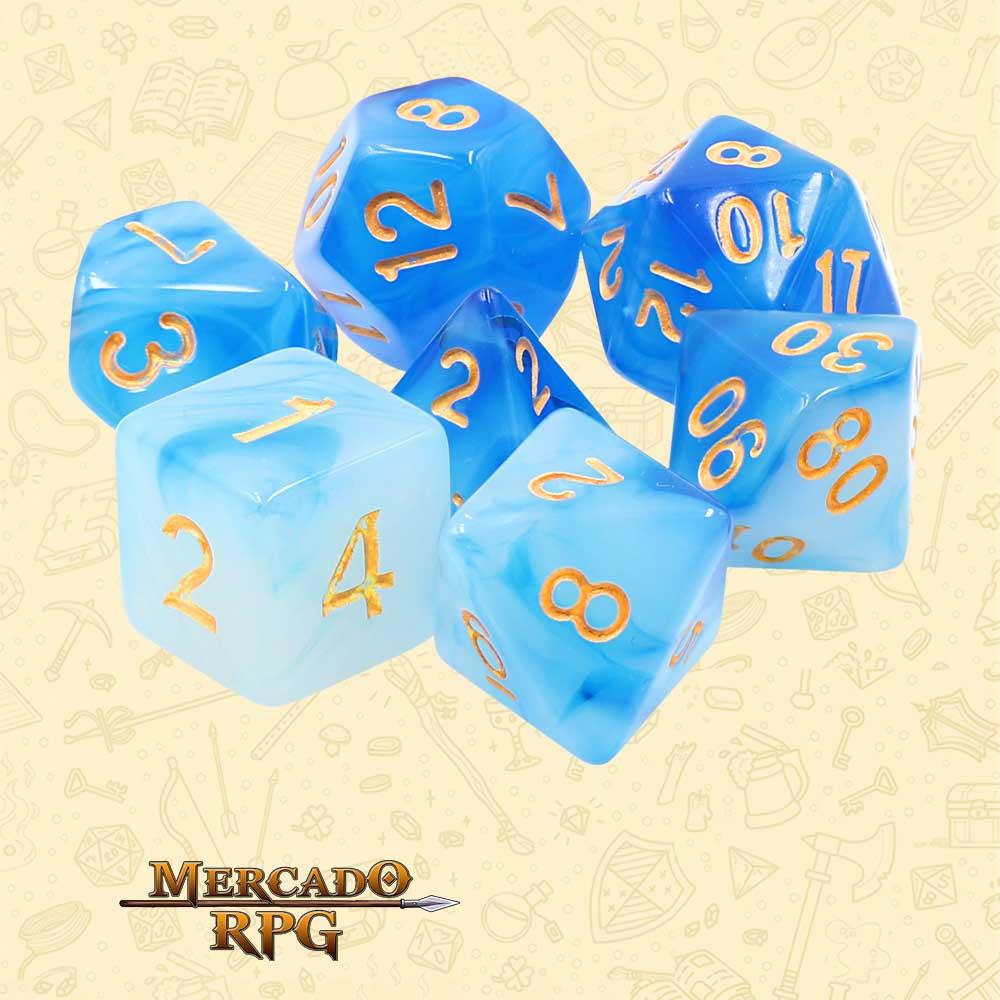 Dados de RPG - Conjunto com 7 Dados Blend - Blue Milky Dice - Mercado RPG
