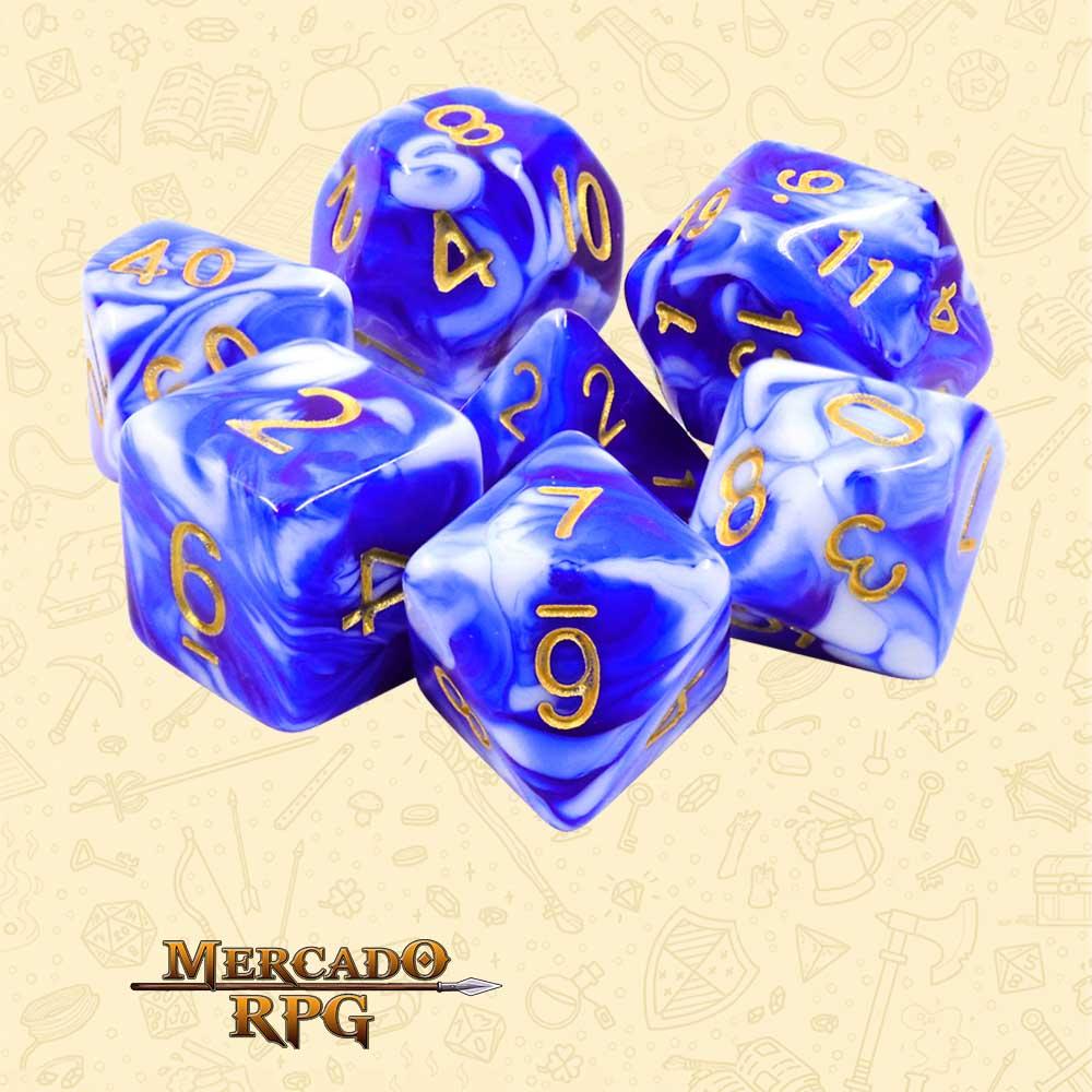 Dados de RPG - Conjunto com 7 Dados Blend - Blue Porcelain Blend Color Dice - Mercado RPG