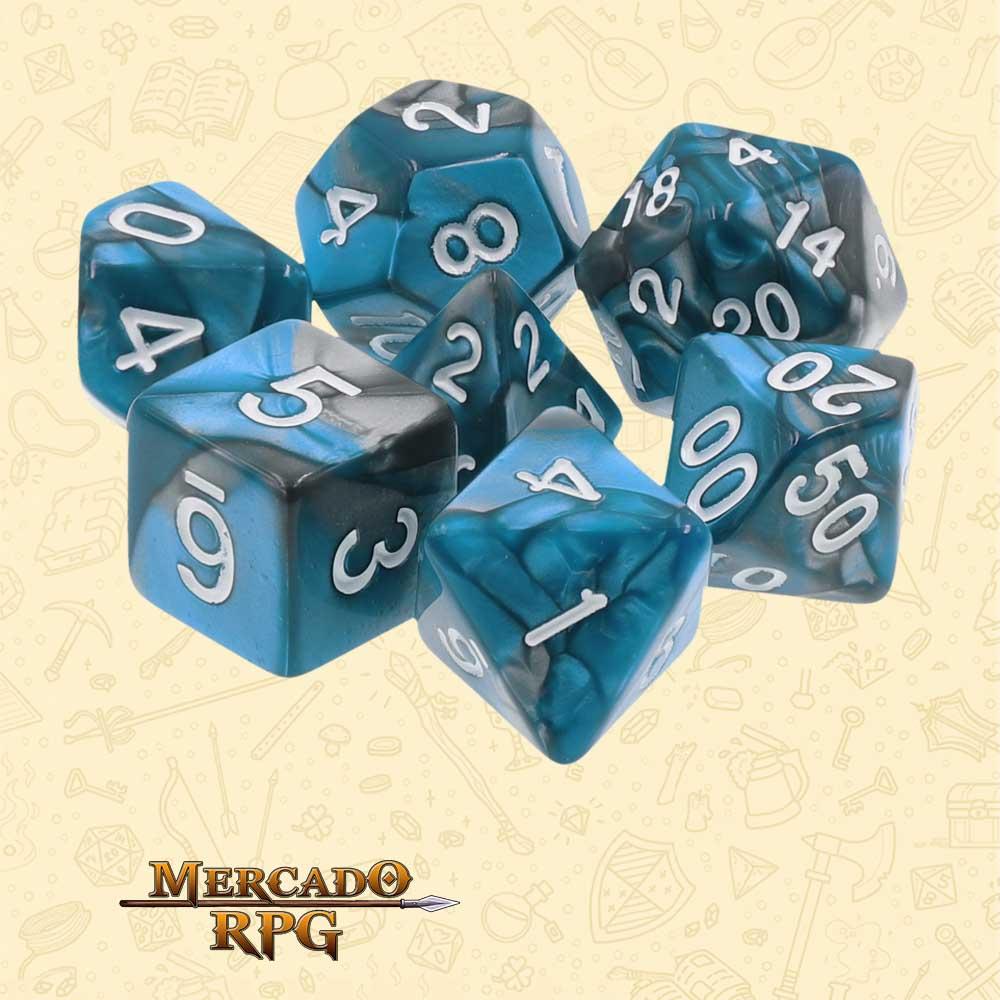 Dados de RPG - Conjunto com 7 Dados Blend - Blue Steel Blend Color Dice - Mercado RPG