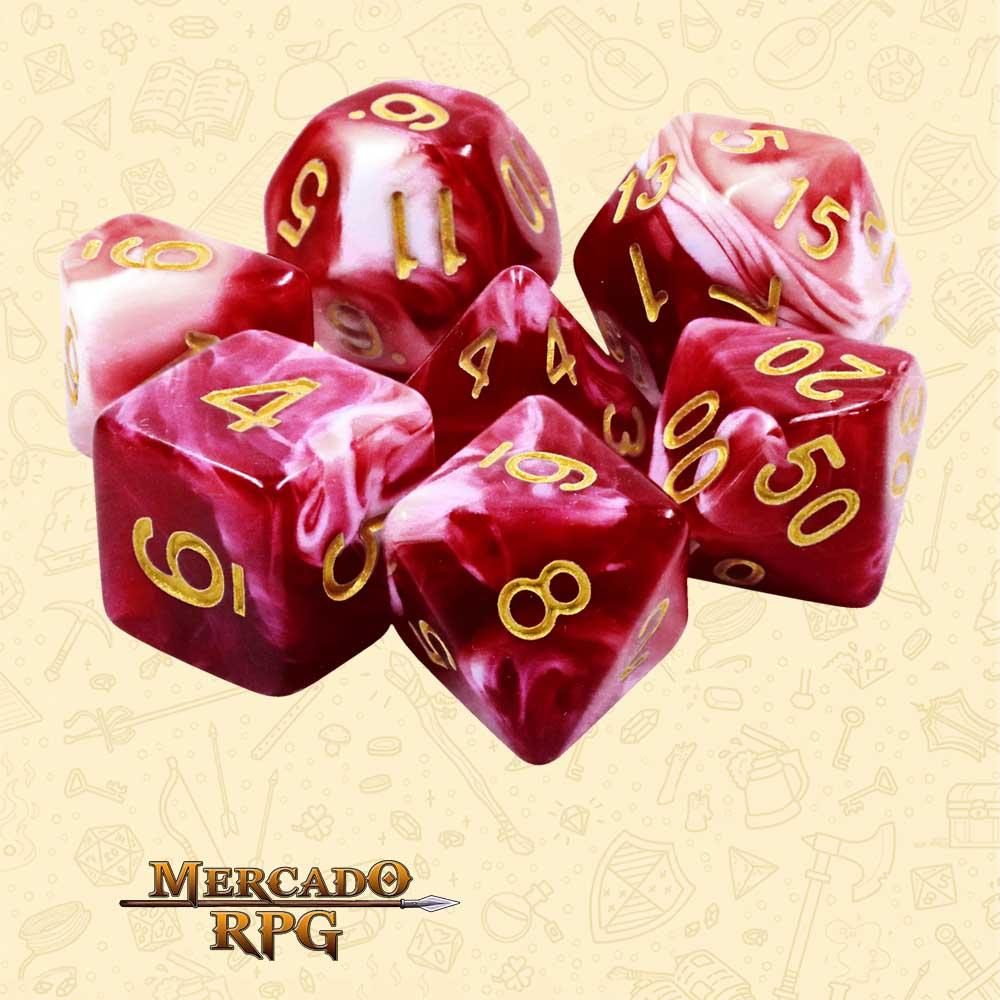 Dados de RPG - Conjunto com 7 Dados Blend - Cherry Cream Blend Color Dice - Mercado RPG