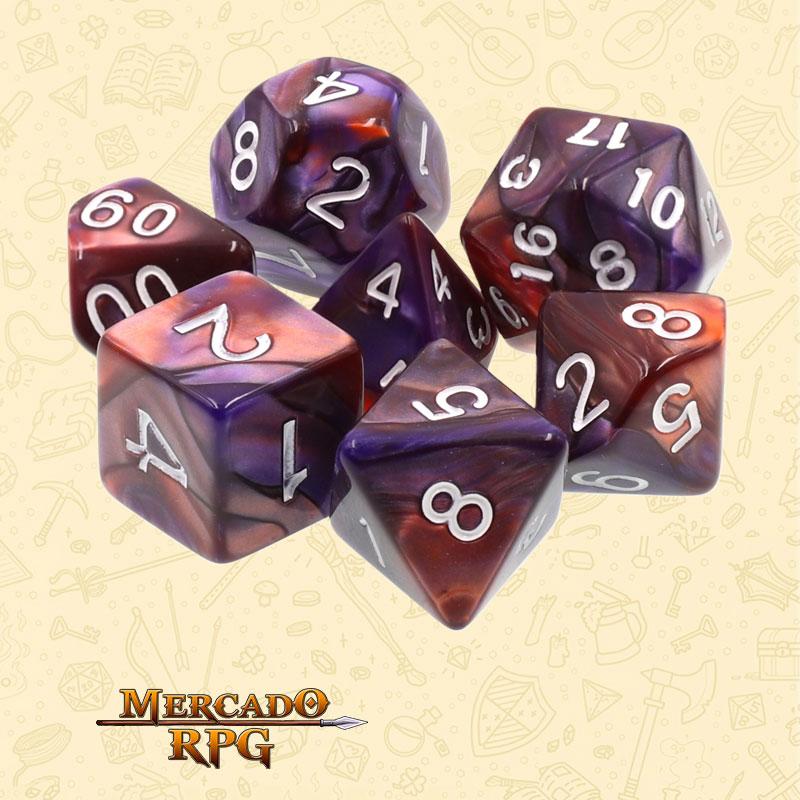 Dados de RPG - Conjunto com 7 Dados Blend - Copper & Blue Blend Color Dice - Mercado RPG