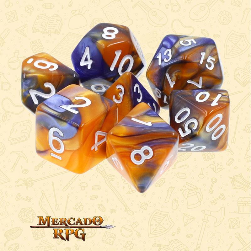 Dados de RPG - Conjunto com 7 Dados Blend - Dark Blue & Gold Blend Color Dice - Mercado RPG
