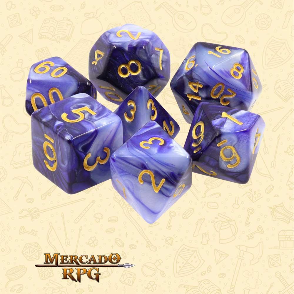 Dados de RPG - Conjunto com 7 Dados Blend - Dark Purple & White Blend Color Dice - Mercado RPG