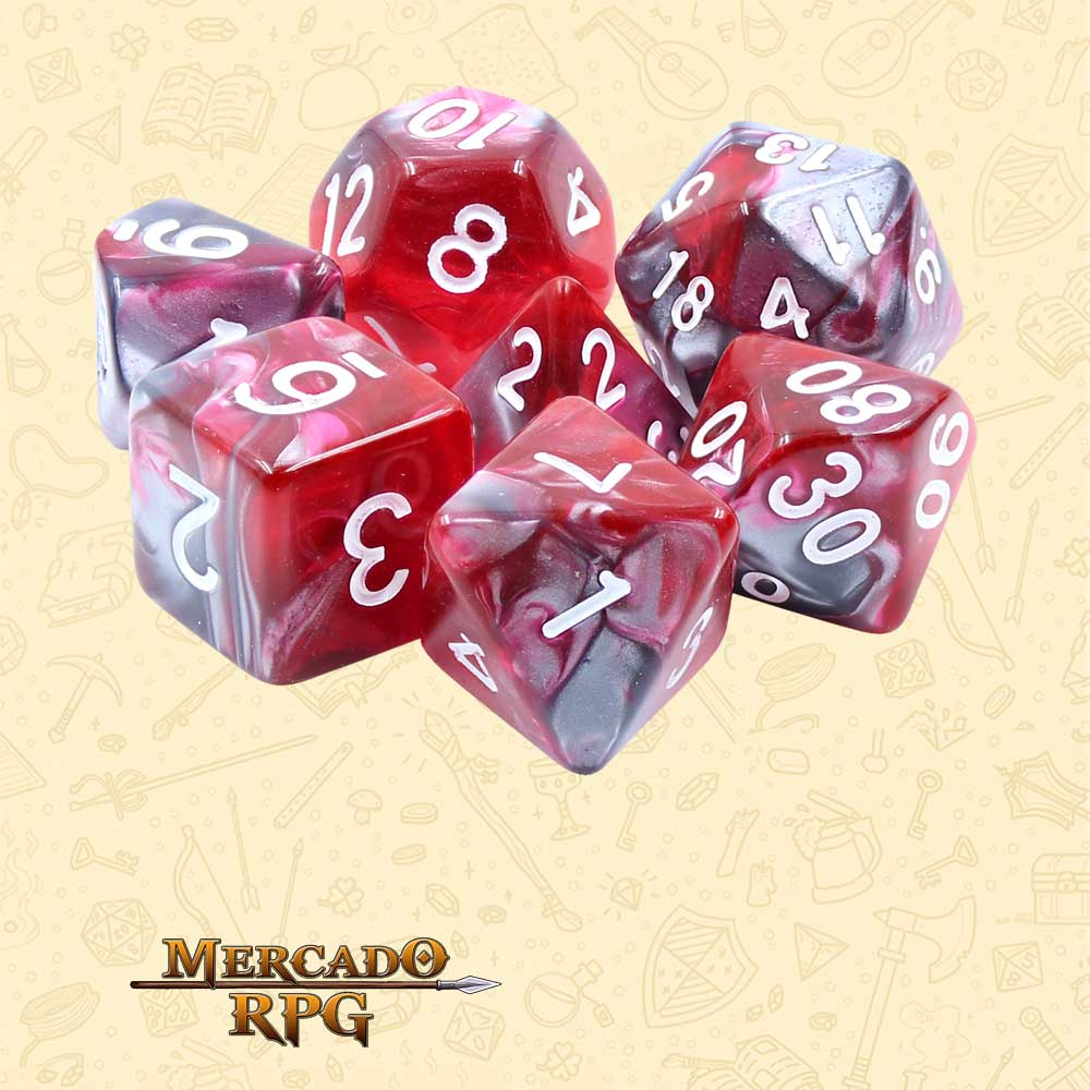 Dados de RPG - Conjunto com 7 Dados Blend - Dragon's Blood Blend Color Dice - Mercado RPG