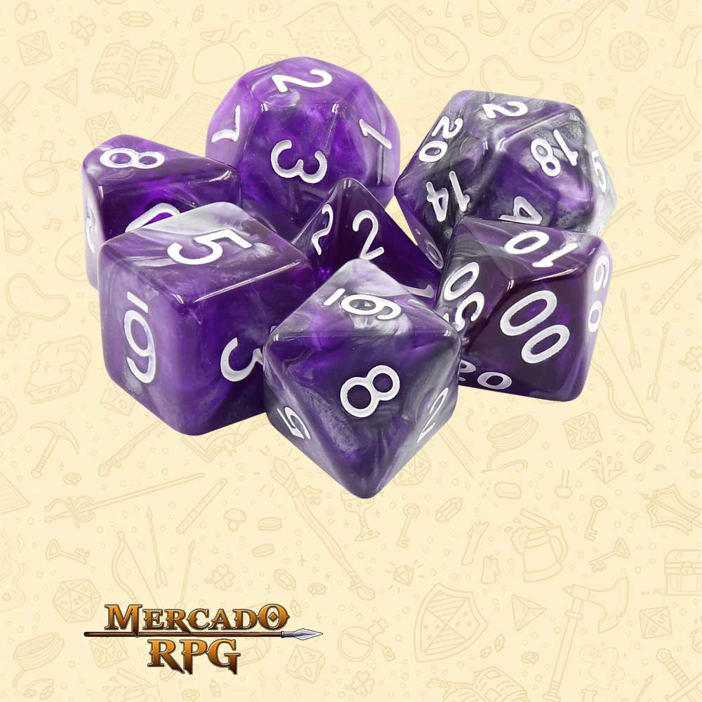 Dados de RPG - Conjunto com 7 Dados Blend - Dark Crystal Blend Color Dice - Mercado RPG
