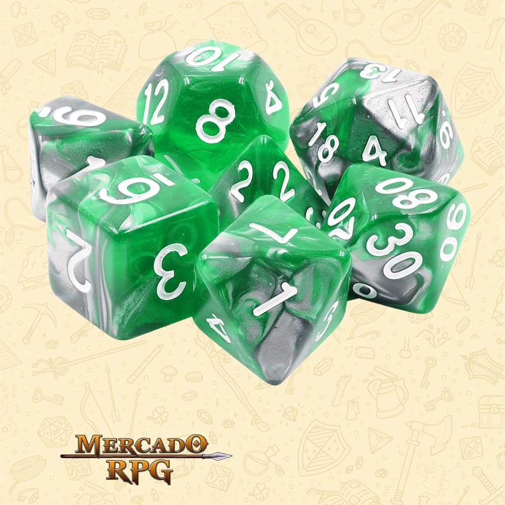 Dados de RPG - Conjunto com 7 Dados Blend - Esmerald Ore Blend Color Dice - Mercado RPG