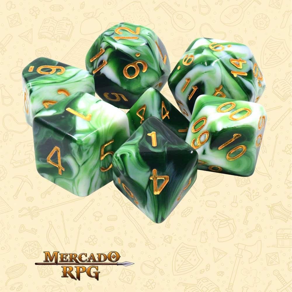 Dados de RPG - Conjunto com 7 Dados Blend - Esmerald White Jade Blend Color Dice - Mercado RPG