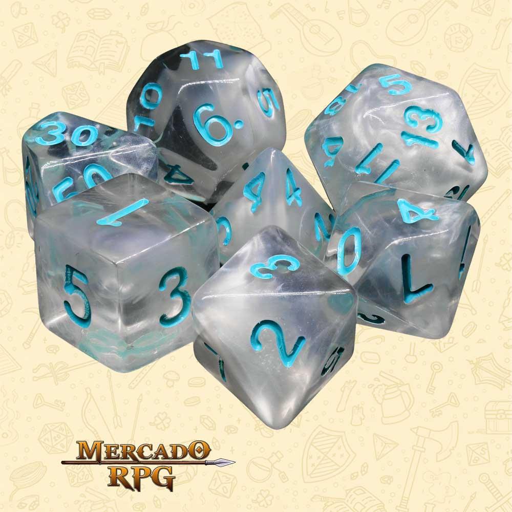 Dados de RPG - Conjunto com 7 Dados Blend - Frozen Heart Blend Color Dice - Mercado RPG