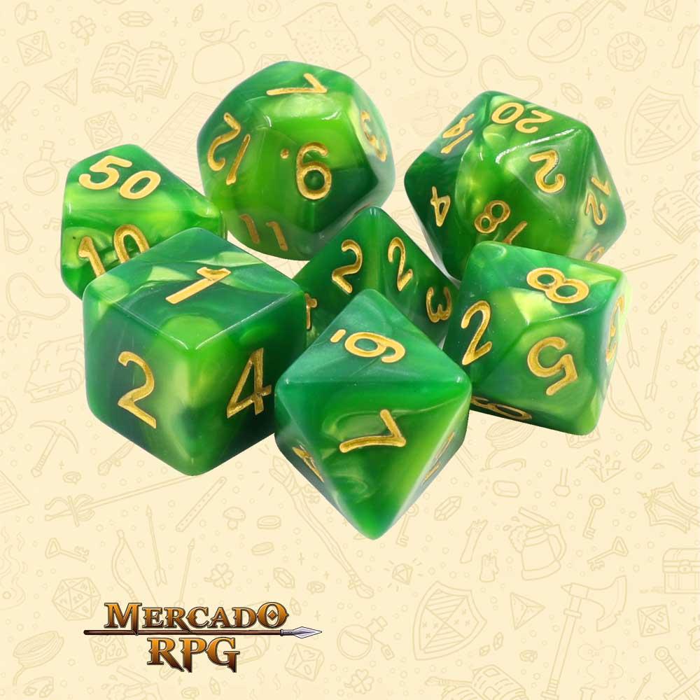 Dados de RPG - Conjunto com 7 Dados Blend - Green Blend Color Dice - Mercado RPG