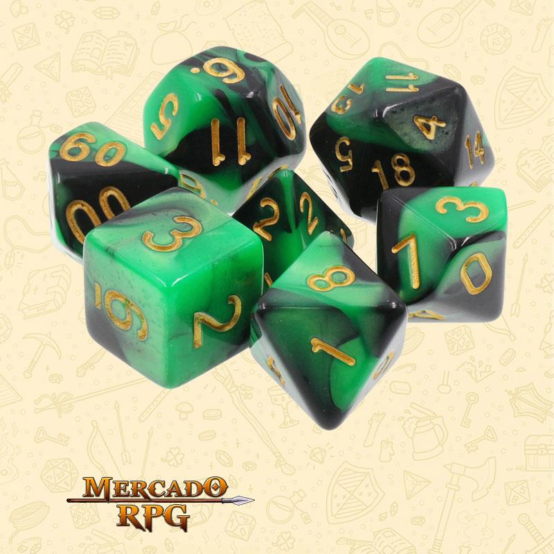 Dados de RPG - Conjunto com 7 Dados Blend - Green & Black Blend Color Dice - Mercado RPG