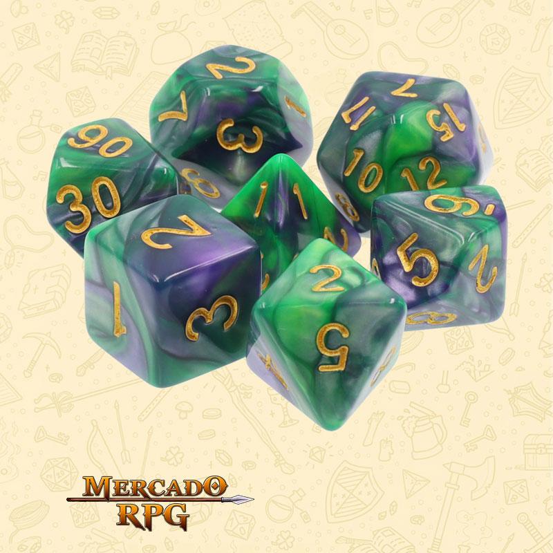 Dados de RPG - Conjunto com 7 Dados Blend - Green & Purple Blend Color Dice - Mercado RPG