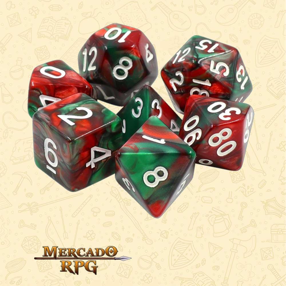 Dados de RPG - Conjunto com 7 Dados Blend - Green & Red Blend Color Dice - Mercado RPG