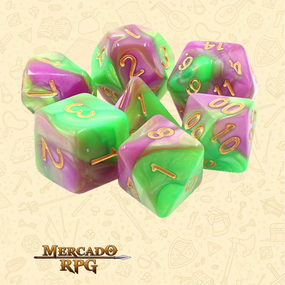 Dados de RPG - Conjunto com 7 Dados Blend - Green & Rose Blend Color Dice - Mercado RPG