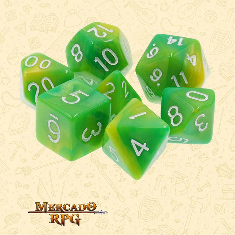 Dados de RPG - Conjunto com 7 Dados Blend - Green & Yellow Blend Color Dice - Mercado RPG