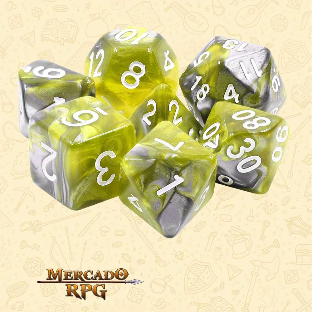 Dados de RPG - Conjunto com 7 Dados Blend - Green Flow Blend Color Dice - Mercado RPG