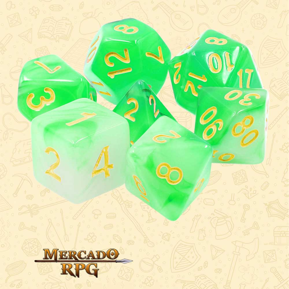 Dados de RPG - Conjunto com 7 Dados Blend - Green Milky Dice - Mercado RPG