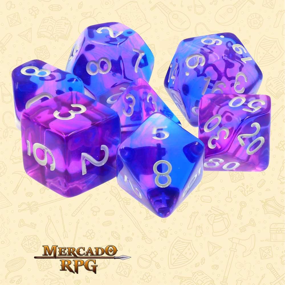 Dados de RPG - Conjunto com 7 Dados Blend - Indigo Sea Blend Color Dice - Mercado RPG