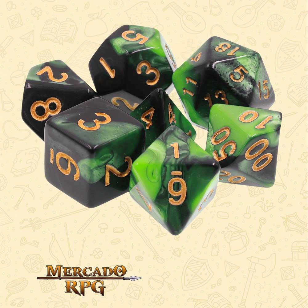 Dados de RPG - Conjunto com 7 Dados Blend - Lakebed Blend Color Dice - Mercado RPG