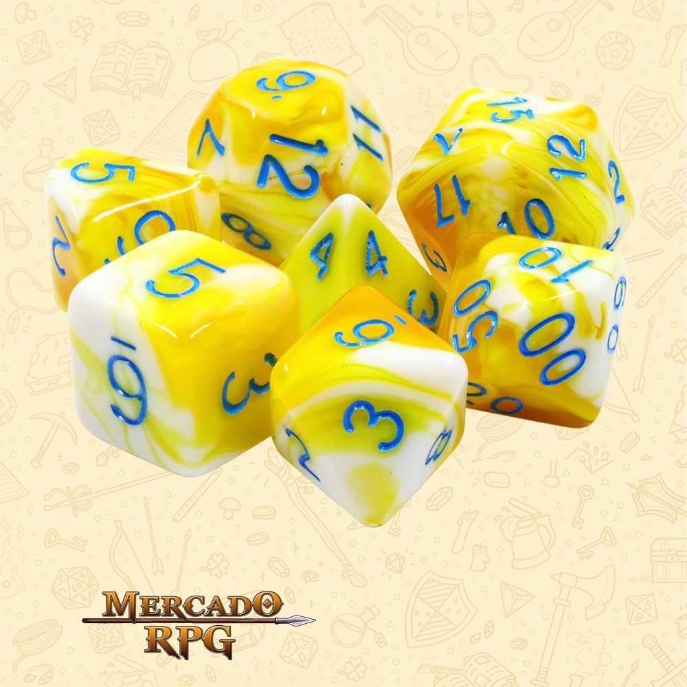 Dados de RPG - Conjunto com 7 Dados Blend - Lemon Cream Blend Color Dice - Mercado RPG