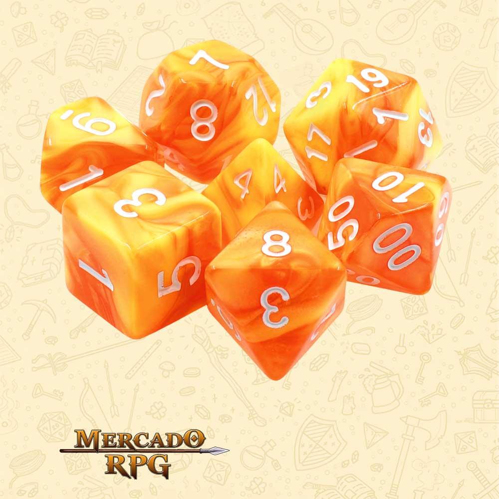 Dados de RPG - Conjunto com 7 Dados Blend - Lemon Yellow & Orange Blend Color Dice - Mercado RPG