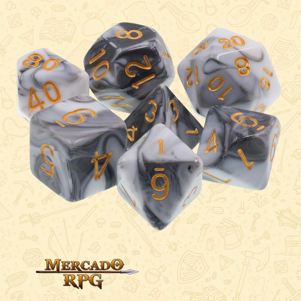Dados de RPG - Conjunto com 7 Dados Blend - Opaque White & Black Blend Color Dice - Mercado RPG
