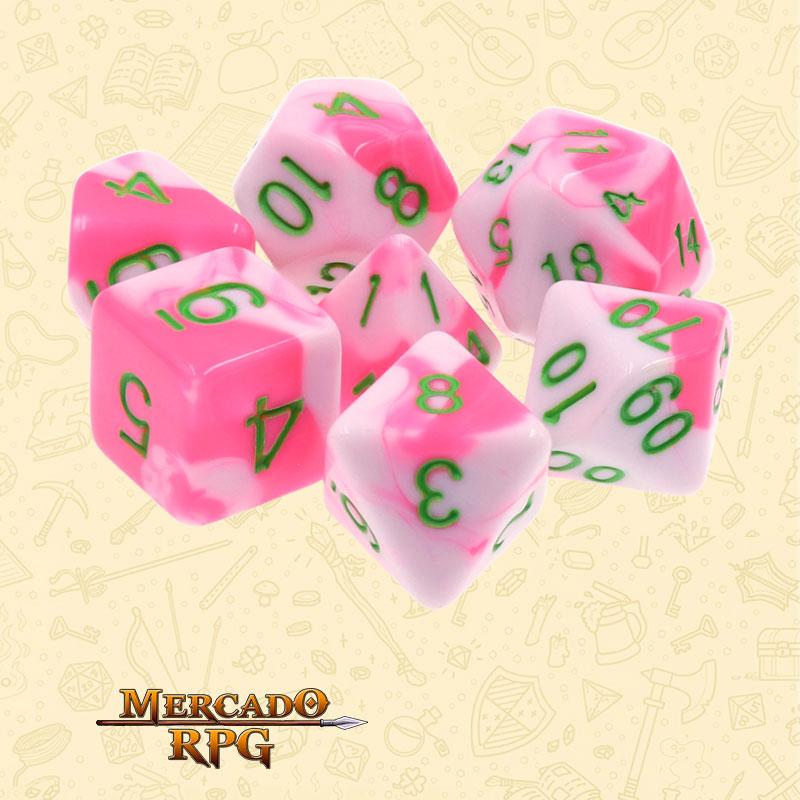 Dados de RPG - Conjunto com 7 Dados Blend - Pink & White Blend Color Dice - Mercado RPG