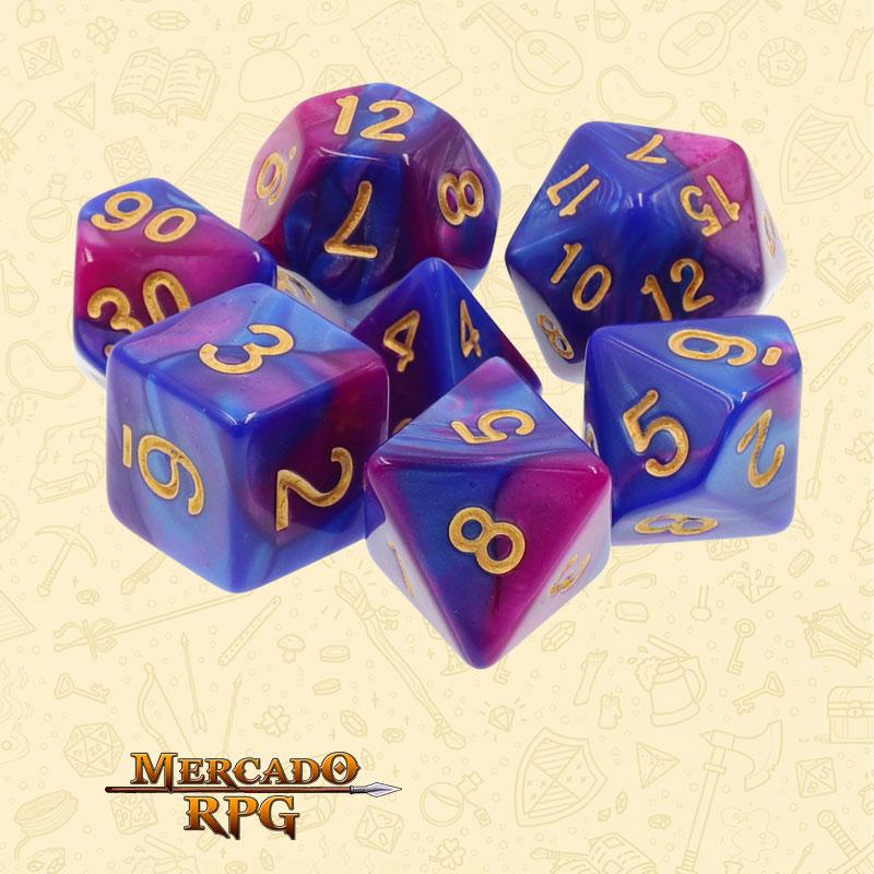 Dados de RPG - Conjunto com 7 Dados Blend - Purple & Blue Blend Color Dice - Mercado RPG
