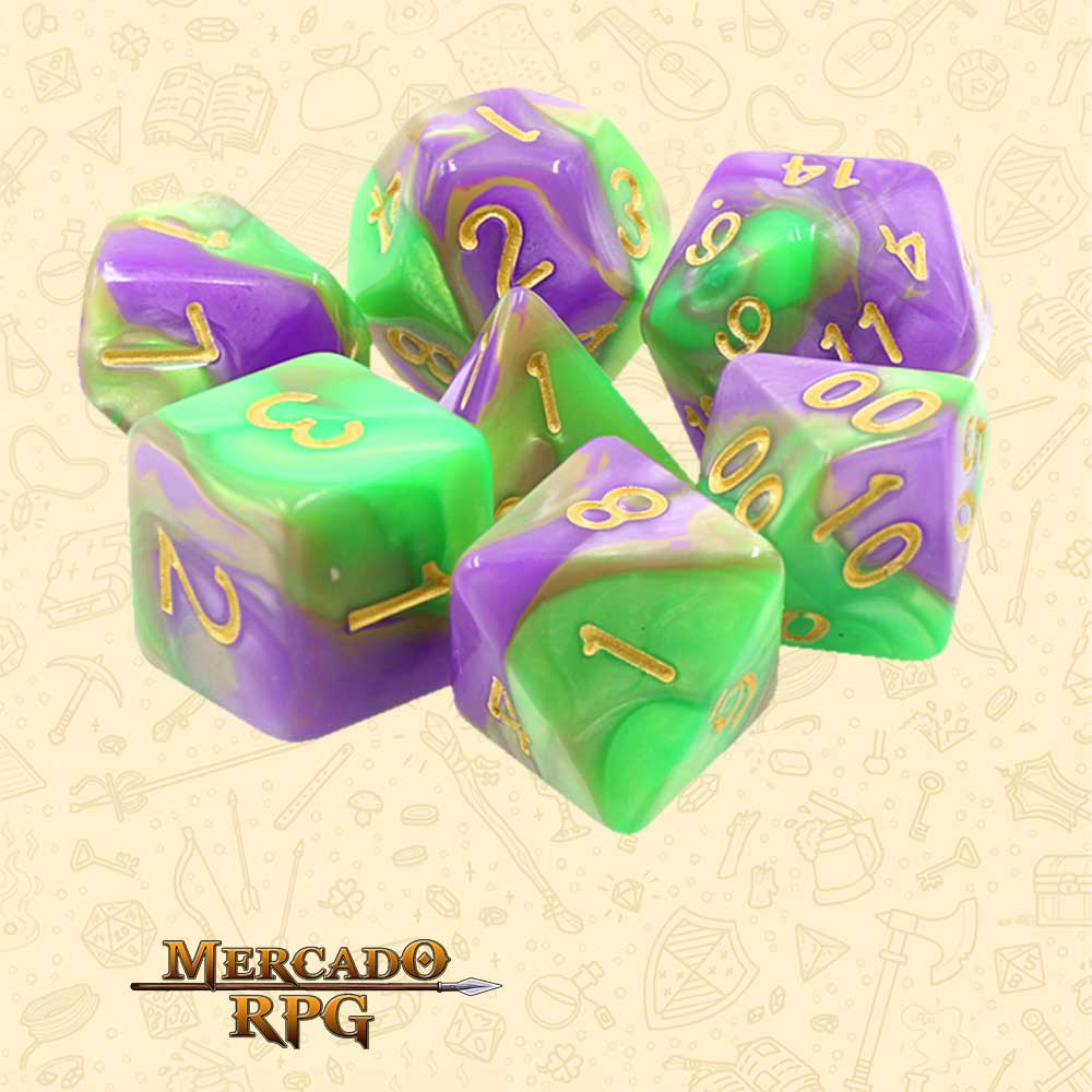 Dados de RPG - Conjunto com 7 Dados Blend - Purple & Green Blend Color Dice - Mercado RPG