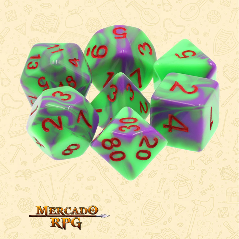 Dados de RPG - Conjunto com 7 Dados Blend - Purple & Green Blend Color Dice Red Font - Mercado RPG