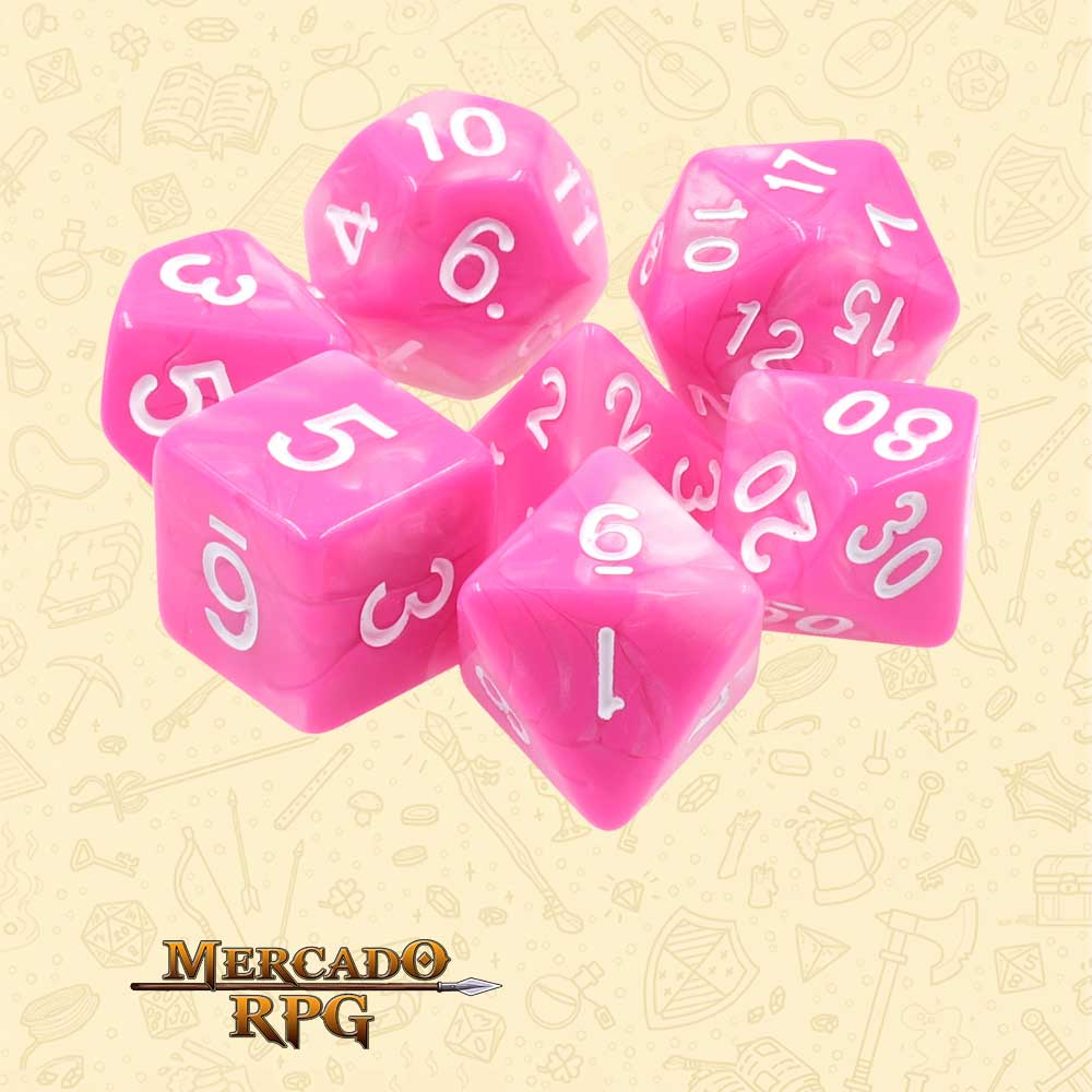 Dados de RPG - Conjunto com 7 Dados Blend - Purple & White Blend Color Dice - Mercado RPG