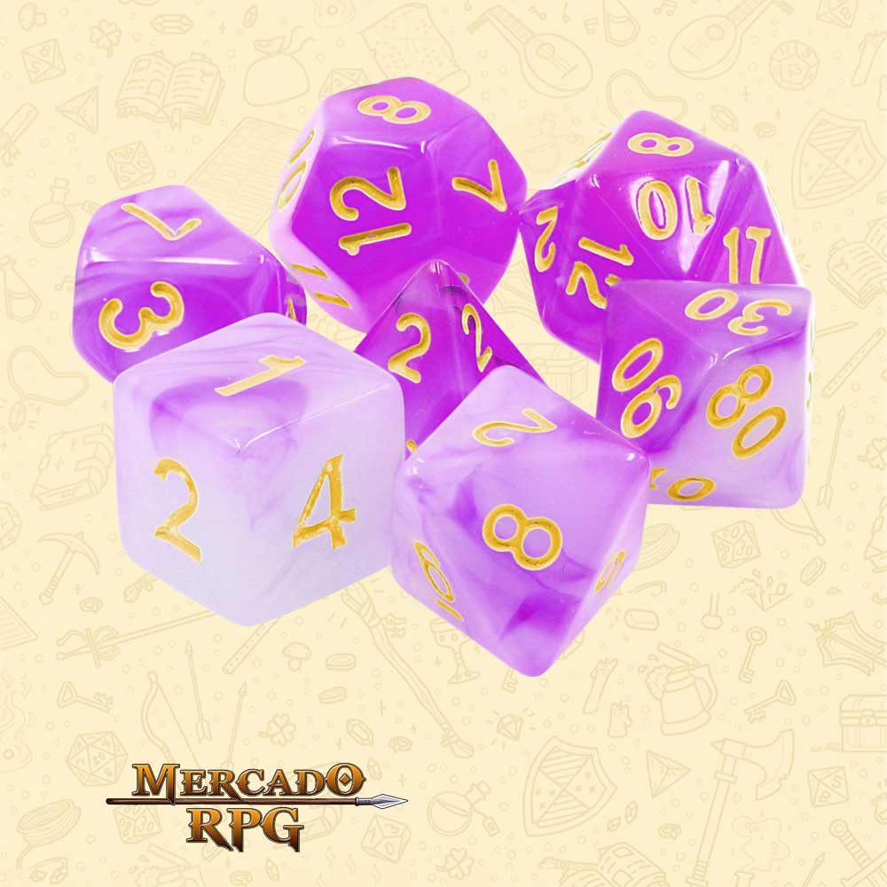 Dados de RPG - Conjunto com 7 Dados Blend - Purple Milky Dice - Mercado RPG