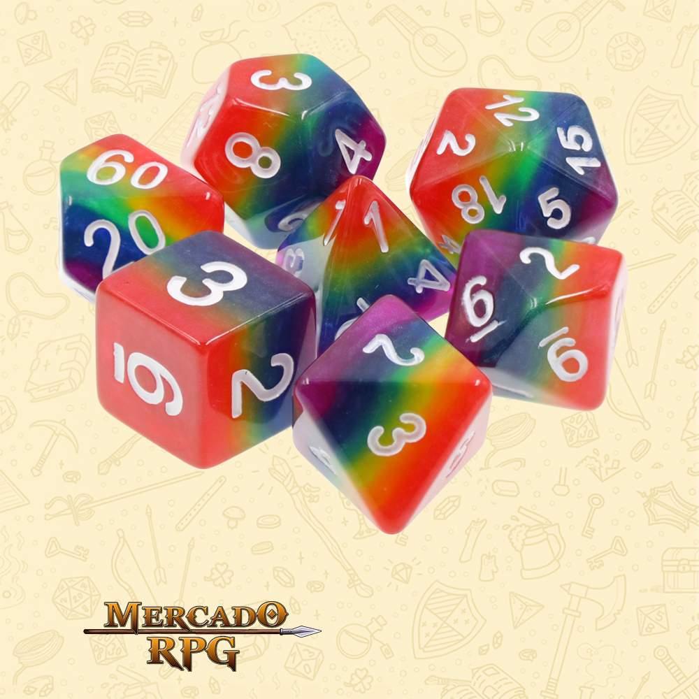 Dados de RPG - Conjunto com 7 Dados Blend - Rainbow Layer Dice - Mercado RPG