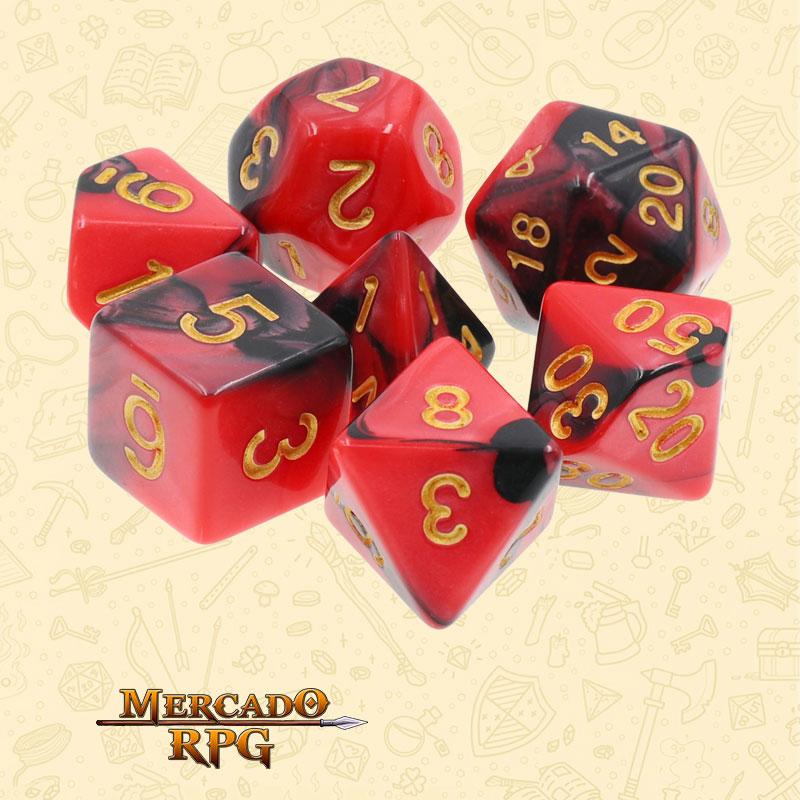 Dados de RPG - Conjunto com 7 Dados Blend - Red & Black Blend Color Dice - Mercado RPG