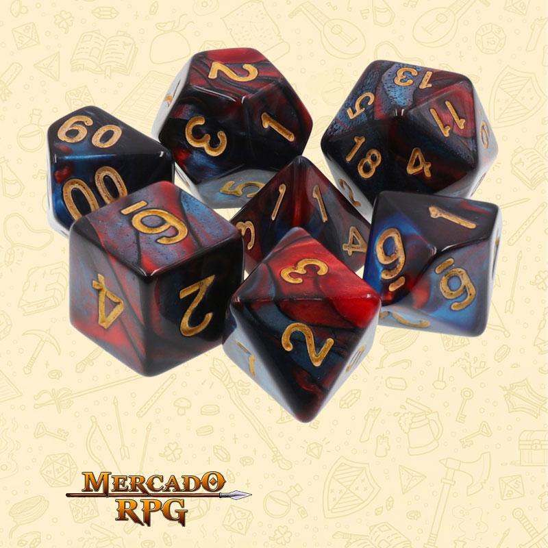 Dados de RPG - Conjunto com 7 Dados Blend - Red & Blue Blend Color Dice - Mercado RPG