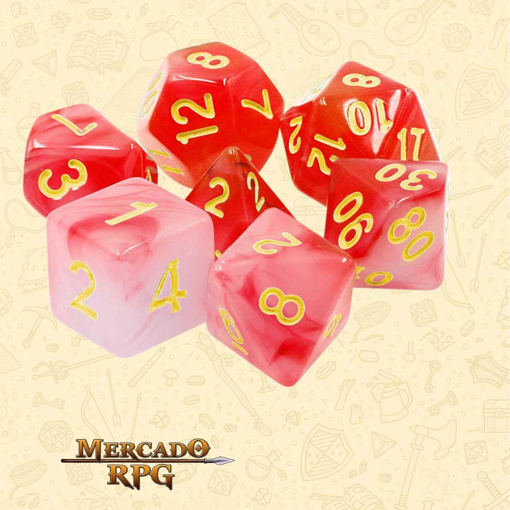 Dados de RPG - Conjunto com 7 Dados Blend - Red Milky Dice - Mercado RPG