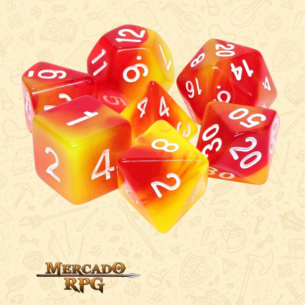 Dados de RPG - Conjunto com 7 Dados Blend - Rising Phoenix Blend Color Dice - Mercado RPG