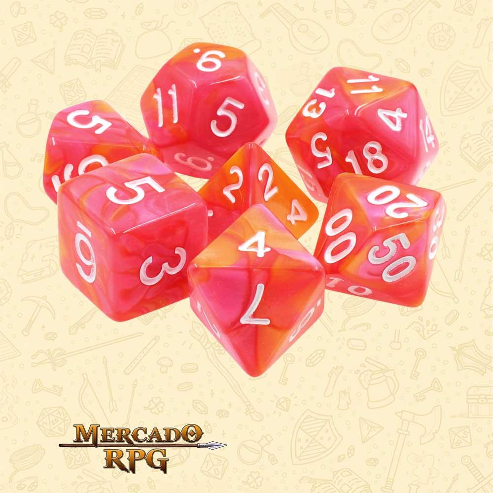 Dados de RPG - Conjunto com 7 Dados Blend - Rose Red & Orange Blend Color Dice - Mercado RPG